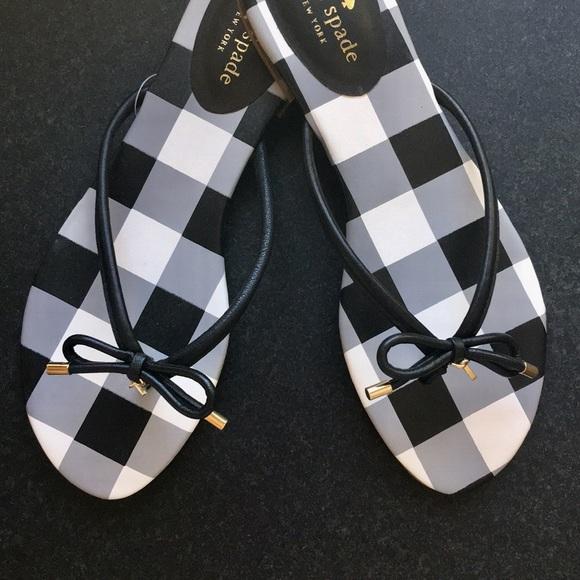 ec38f54c9 Kate Spade Black Gingham Check Bow Sandal